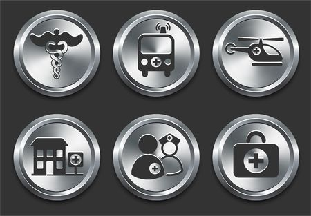 shiny metal: Health Hospital Icons on Metal Internet Button Original  Illustration