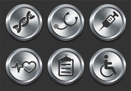 Health Hospital Icons on Metal Internet Button Original  Illustration 写真素材