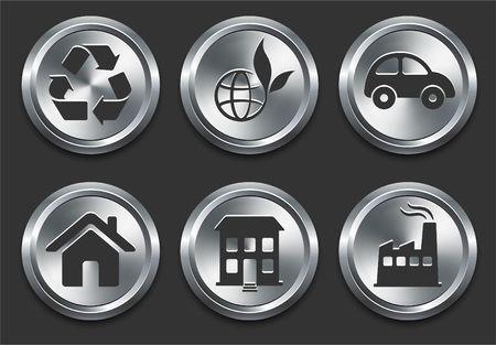 Environmental Icons on Metal Internet Button Original  Illustration illustration