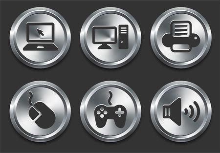 Computer Icons on Metal Internet Button Original  Illustration illustration