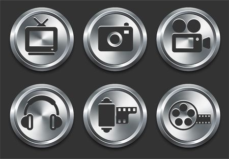 Technology Icons on Metal Internet Button Original  Illustration illustration