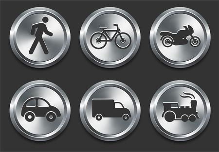 Transportation Icon on Metal Internet Button Original  Illustration Stock Illustration - 6619798