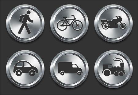 Transportation Icon on Metal Internet Button Original  Illustration Stock Illustration - 6619798