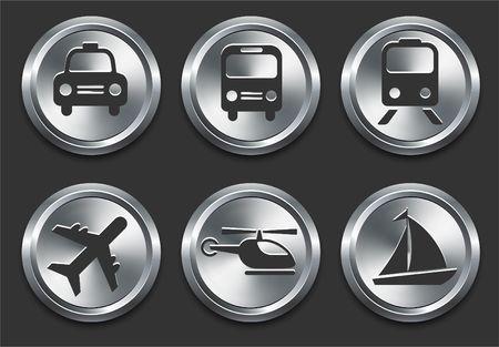 Transportation Icon on Metal Internet Button Original  Illustration illustration