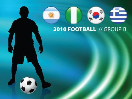 b ball: Soccer Player on Abstract Liquid Wave Background