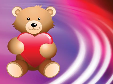 love image: Teddy Bear on Abstract Liquid Wave Background