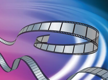 movie film: Film Reel on Abstract Liquid Wave Background