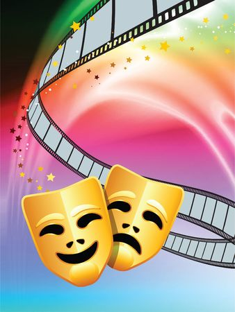 Comedy and Tragedy Masks on Abstract Liquid Wave Background  photo