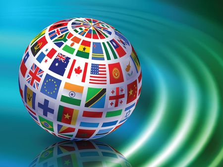 Flag Globe on Abstract Liquid Wave Background  photo