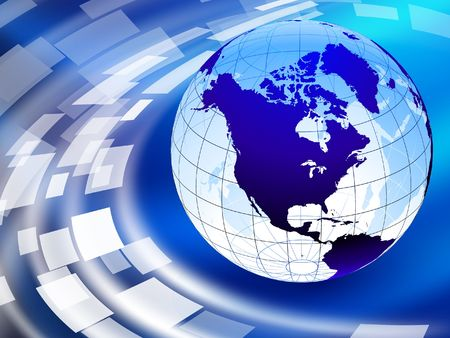 north america: Globe on Abstract Liquid Wave Background  Stock Photo