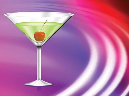 Martini Glass on Abstract Liquid Wave Background