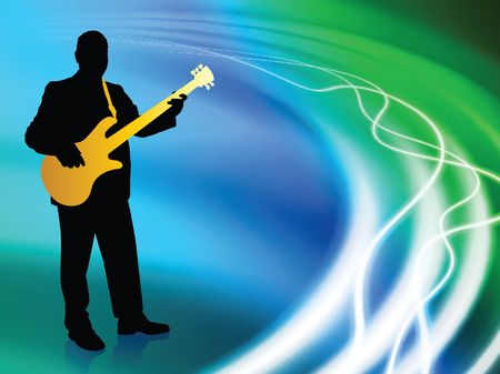 Live Musiscian on Abstract Liquid Wave Background photo