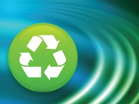 Recycle Symbol on Abstract Liquid Wave Background
