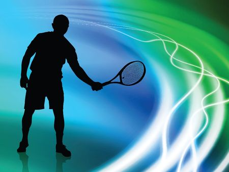 backhand: Tennis Player on Abstract Liquid Wave Background  Stock Photo