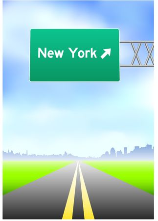 vertical divider: New York Highway Sign Stock Photo