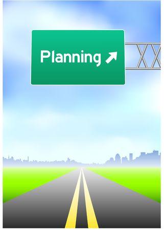vertical divider: Planning Highway Sign Stock Photo