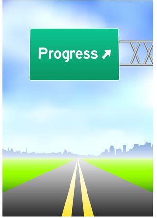 vertical divider: Progress Highway Sign Stock Photo