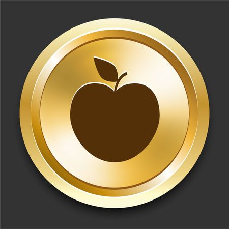 golden apple: Apple on Golden Internet Button Original Illustration