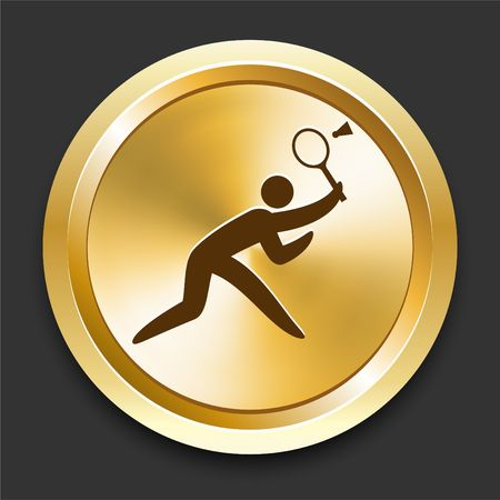 Badminton on Golden Internet Button Original Illustration illustration