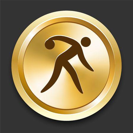 Bowling on Golden Internet Button Original Illustration illustration