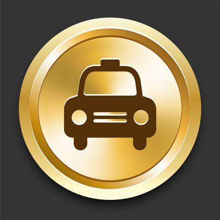 Cab on Golden Internet Button Original Illustration