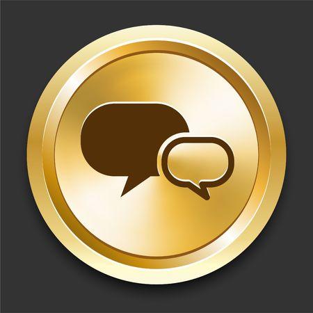 Chat on Golden Internet Button Original Illustration