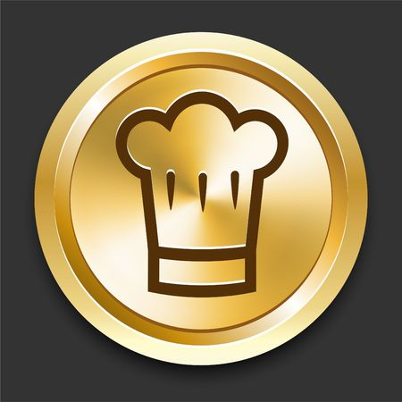 gold metal: Chef Hat on Golden Internet Button Original Illustration