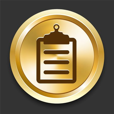 Clipboard on Golden Internet Button Original Illustration
