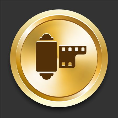 Camera Reel on Golden Internet Button Original Illustration