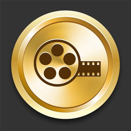 Film Reel on Golden Internet Button Original Illustration