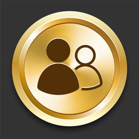 User Group on Golden Internet Button Original Illustration Reklamní fotografie