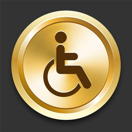 Wheelchair on Golden Internet Button Original Illustration