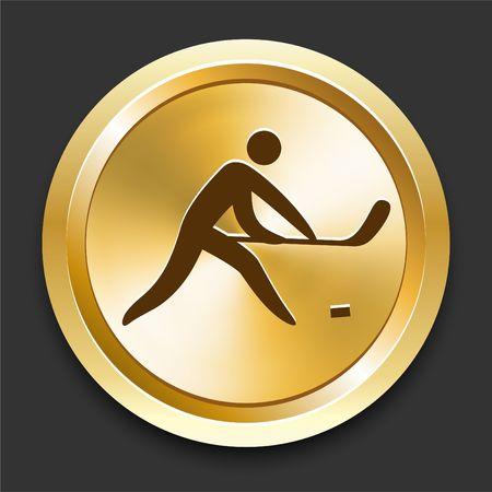 Hockey op de Gouden Originele Illustratie van Internet Knoop