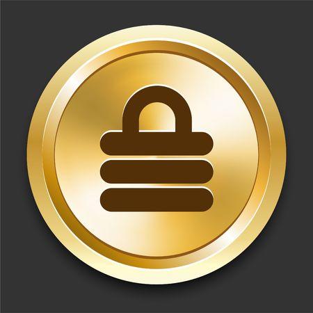 Lock on Golden Internet Button Original Illustration