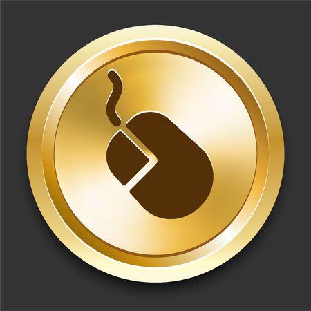 Mouse on Golden Internet Button Original Illustration illustration