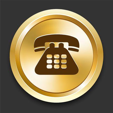Telephone on Golden Internet Button Original Illustration