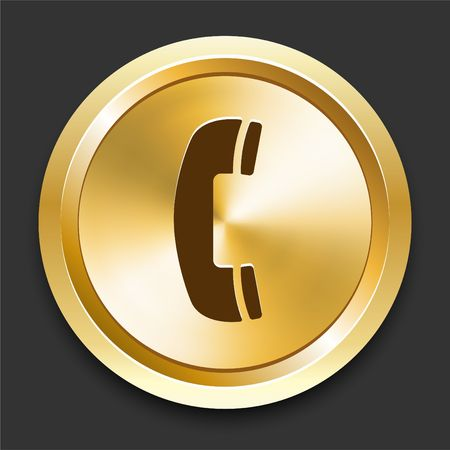 Telephone on Golden Internet ButtonOriginal Illustration Stock Illustration - 6798705