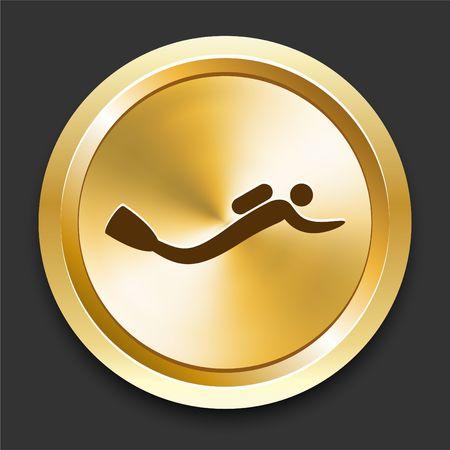 Scuba Diver on Golden Internet Button Original Illustration Banco de Imagens