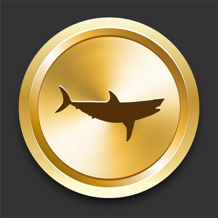 Shark on Golden Internet Button Original Illustration illustration