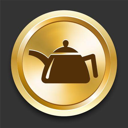 Tea Kettle on Golden Internet Button Original Illustration
