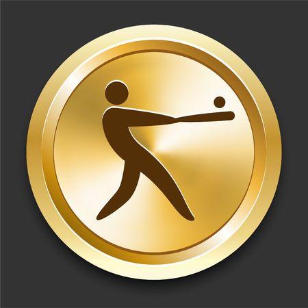 Baseball on Golden Internet Button Original Illustration