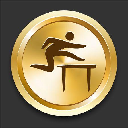 hurdles: Hurdles on Golden Internet Button Original Illustration