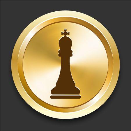 King on Golden Internet Button Original Illustration illustration
