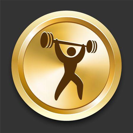snatch: Weightlifting on Golden Internet Button Original Illustration
