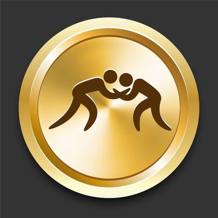 wrestle: Wrestling on Golden Internet Button Original Illustration