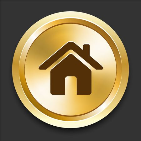 shiny metal background: House on Golden Internet Button Original Illustration