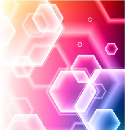 Hexagon Shapes on Colorful Abstract Background Original Illustration illustration