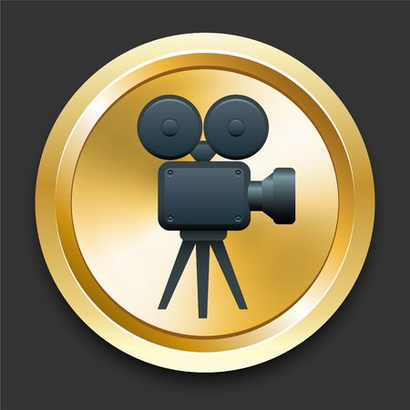 Filmcamera op Gouden Internet-Knoop Originele Illustratie Stockfoto