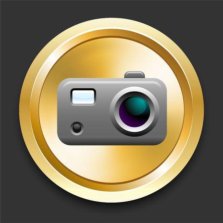Camera on Golden Internet Button Original Illustration