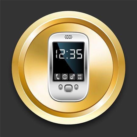 Cell Phone on Golden Internet Button Original Illustration illustration